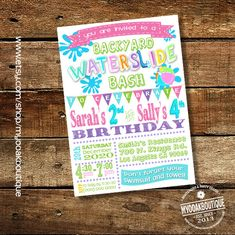 Waterslide backyard bash invitation birthday party water slide girl invite joint siblings sisters digital printable invitation 13637