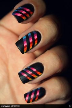 Black and Rainbow nails
