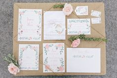 Jessica & Shea's Blush Hand-painted Texas Wedding - Watercolor Floral Invitations by Leveret Paperie