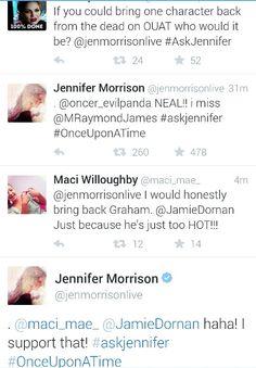 Graham and Hook.  Jennifer Morrison Q / A on twitter #AskOnce #AskJennifer