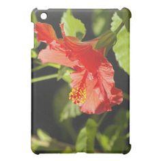 Embossed Red  Hibiscus iPad Mini Cases