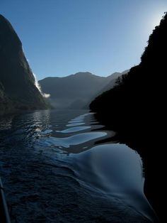 "Doubtful Sound, South Island, New Zealand. Here there is an annual rainfall of 7.6 metres resulting in a permanent top layer of freshwater 4 metres deep. The appearance of the water here in this photo is what we call ""oily""."
