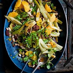 Orange, pecan and cannellini salad with sautéed fennel and golden raisins. This low calorie, gluten free zingy salad with warm fennel from Persian cooking guru Sabrina Ghayour. Vegetarian Salad Recipes, Bean Salad Recipes, Veggie Recipes, Healthy Recipes, Easy Recipes, Healthy Food, Healthy Eating, Low Calorie Chicken Salad, Cannellini Bean Salad