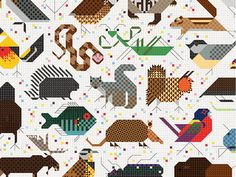 """""""SPACE FOR ALL SPECIES"""" From 1968, A Mural By Charley Harper (COURTESY DESIGNTEX)"""