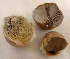 leaving the shell - paper shells marked with Indian ink by Ines Seidel