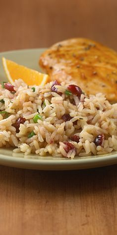 A fresh tasting rice pilaf recipe flavored with dried cranberries, orange juice and thyme