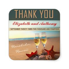 beach wedding thank you stickers -- Call (310) 882-5039 if you are looking for So Cal celebrants. https://OfficiantGuy.com