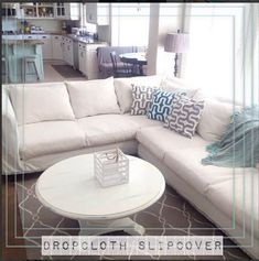 These drop cloth project ideas will leave you inspired and swimming with ideas! A drop cloth is a great material for home decor ideas on a budget! Sectional Sofa Slipcovers, Sectional Couch Cover, White Sectional, Couch Cushions, Couch Covers, Slipcovers For Chairs, Reupholster Couch, White Couches, Pillow Covers