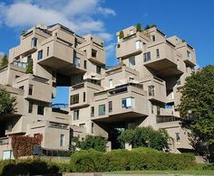 Habitat 67, or simply Habitat, is a model community and housing complex in Montreal, Canada designed by Israeli–Canadian architect Moshe Safdie. It was originally conceived as his master's thesis in architecture at McGill University and then built as a pavilion for Expo 67, the World's Fair held from April to October 1967. It is located at 2600 Avenue Pierre-Dupuy on the Marc-Drouin Quay next to the Saint Lawrence River.
