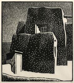 "THAYER CARTER  Church of San Jose de Garcia, 1974, woodcut print, 8.75"" x 9"""