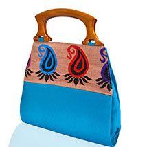 Blue Wooden Handed Clutch Bag