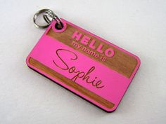 Hello My Name Is Wooden Dog Tag