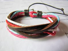 Womens cotton Ropes 3 leathers Bracelet Wristband cuff bracelet 315A. $3.50, via Etsy.
