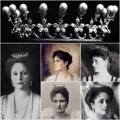 a composite image of the Boucheron pearl coronet Royal Crown Jewels, Royal Jewelry, High Jewelry, Vintage Jewelry, Alexandra Feodorovna, Royal Tiaras, Tiaras And Crowns, Queen Victoria Prince Albert, Princesa Real