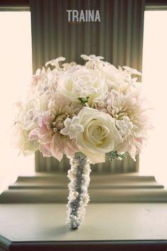 Gorgeous bouquet of Cafe Ole dahlias, stephanotis, roses. #trainaphotography #newleafflorist #blushwedding