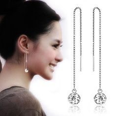 2017 New Arrivals 925 Sterling Silver Long Hollow Ball Earrings For Women Fashion Jewelry sterling-silver-jewelry pendientes