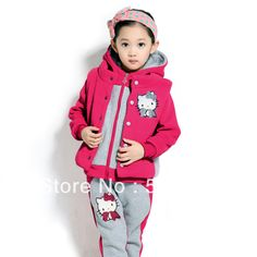 2013 New Children's Clothing Fashion Girls 3 PCS Clothing Set Winter Sport Outwear Hello Kitty Thicken Ski Suit  $59.90