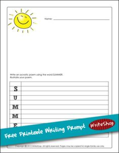 Summer acrostic writing prompt | Free printable