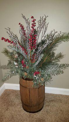 Christmas barrel decor or antique nail keg decor. Designed by Carol.