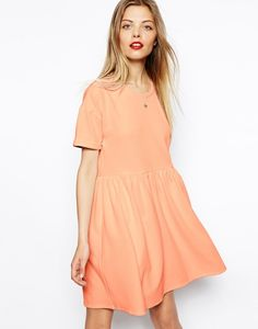Wear this peach dress to work or on the weekend.