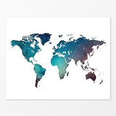 Galaxy World Map Watercolor Wall Art Print 11x14 -- You can find more details by visiting the image link.