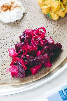 Ye'Denich Be'Kaysir Atakilt (Tender Potatoes with Pickled Beets and Onion in a Lime Vinaigrette