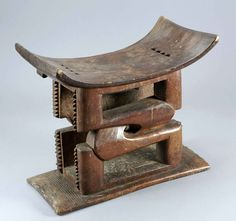 Africa | Stool from the Asante people of Ghana | Wood, chocolate brown patina