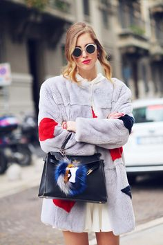 Chiara Ferragni :: MSGM fur coat, David Delfin dress, Celine sunglasses, Hermes Kelly bag, Fendi bag bug