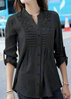Charcoal black sleeved button blouse for women