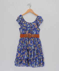 Take a look at this Blue & Green Floral Belted Ruffle Dress by Rachel and Chloe on #zulily today!
