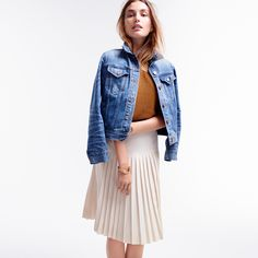 J.Crew Looks We Love: women's denim jacket in Tyler wash, Collection cashmere short-sleeve T-shirt, drop-waist pleated skirt and classic circle knot cuff bracelet.