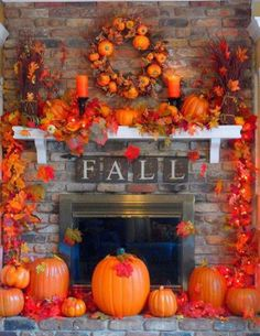 Fall - We love the pumpkin wreath