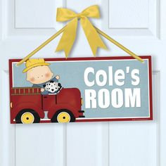 Li'l Firefighters Fireman Fire Truck Dalmation Boy Theme Kids Personalized Wall Door Sign Plaque Baby/Nursery Room Decor by PICKLEBERRY KIDS by PickleberryDesignsNY on Etsy