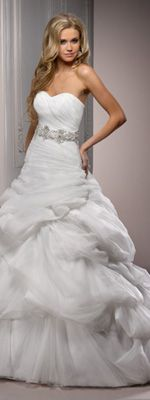 Diamond White Bustled Tulle & Organza Strapless Drop Waist Melinda Wedding Gown
