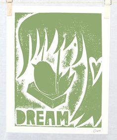 Sage+Dream+Bird+Print+by+Raw+Art+Letterpress+#zulily+#zulilyfinds