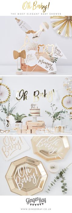 The most elegant baby shower ever seen! With gold finishing and greenery, it'll be the most talked about baby shower. The gold foiling will make for a sophisticated baby shower that the mummy to be will love!