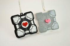 Portal Companion Cube Friendship Necklaces - 25% Sale - Laser Engraved Acrylic