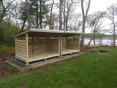Holzunterstand Firewood Storage Sheds To Store Wood For Winter From East Coast Shed Security shutter Firewood Shed, Firewood Storage, Firewood Holder, Wood Storage Sheds, Pallet Storage, Storage Ideas, Storage Shed Plans, Garage Storage, Shed Construction