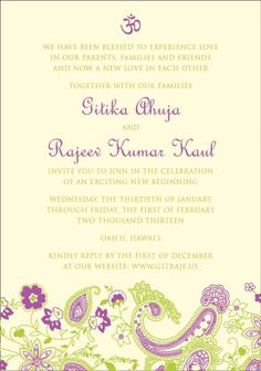 They used bright green and purple ink colors to get their guests excited for a tropical destination wedding in Hawaii.