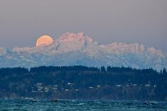 Items similar to Full Moon Sunrise with the Olympic Mountains Photograph on Etsy Reflection Photography, Scenic Photography, Photography Tips, Olympic Mountains, Moon Setting, Professional Photo Lab, Mountain Photos, The Mountains Are Calling, Photography For Beginners