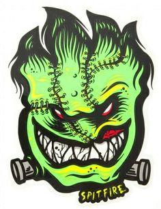 Spitfire Wheels Skateboard Sticker - Monster Mash Graverobber - 16 x Spitfire Logo, Spitfire Skate, Deadpool Pikachu, Frankenstein Art, Skateboard Logo, Wheel Logo, Cool Skateboards, Skate Art, Vintage Hipster