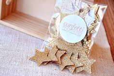 Glitter Gold Confetti is rich in color and quality and perfect for baby boy's first birthday party or a twinkle twinkle little star baby shower! Use it to stuff your invitations, decorate tables, embellish presents, or throw it in the air.