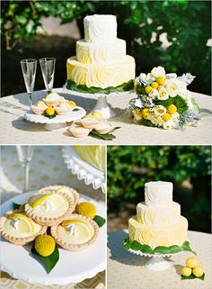 A simple cake is taken to a new level with the ombre look of the yellow icing.      Photo:  Lavender & Twine  Cake:  Jana's Creative Cakes