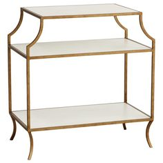 Redford House Milla Side Table with Wood Shelves