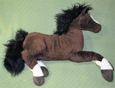 "Animal Alley HORSE larg 25"" Long Floppy Plush Brown White Black Mane Stuffed Toy #AnimalAlley"