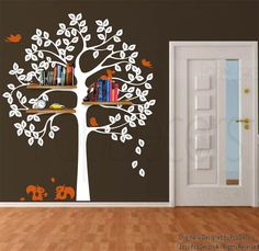 Shelving Tree Wall Decal - PopDecors.com