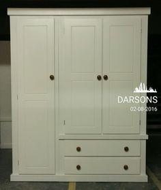 handmade darsons triple white with long door shelves, fully assembled