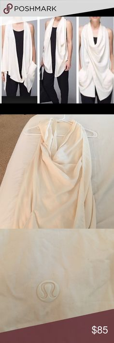 Lululemon wrap vest Lululemon convertible sleeveless 100% Tencel Lyocell wrap vest can be worn multiple ways. Shorter in the back and long front. Pockets on front. Soft, silky material. Excellent condition, only worn once! lululemon athletica Other