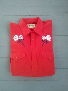 Vintage Ely Cattleman Cherry Bomb Red Button Up Western Shirt / Men's XL / Rockabilly / Country Western / Nashville / Rocker by JulesCristenVintage on Etsy