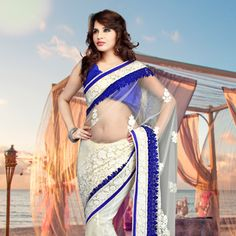 Off White Net #Saree with Blouse